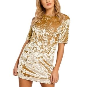 New Round Neck Gold Goddess Velvet Dress